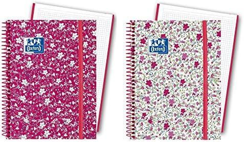 Oxford Floral - Pack de 5 cuadernos en espiral, tapa extradura, A6 ...