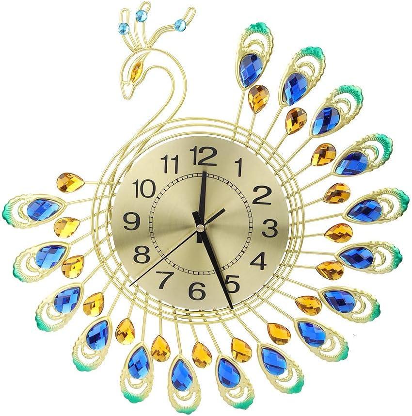 Ichiias Reloj de Pared Hierro Moderno Gran Forma de Pavo Real 3D Reloj silencioso sin tictac para decoración de Sala de Estar
