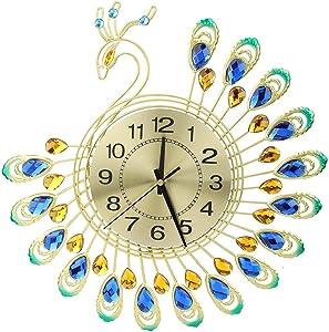 FAMKIT Iron Modern Wall Clock Large 3D Peacock Shape Non Ticking Silent Clock for Living Room Decor