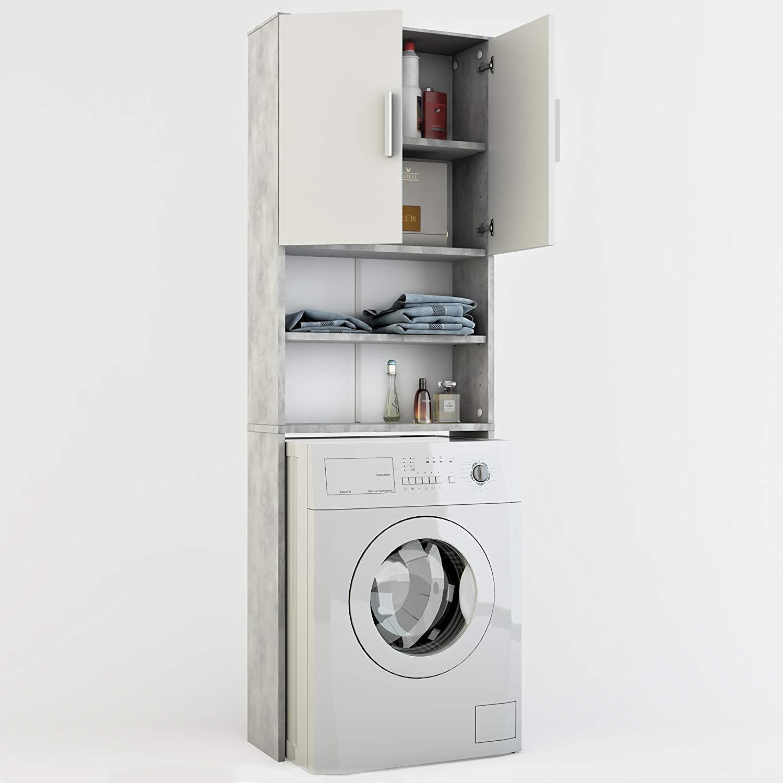 Vicco Armadio per Lavatrice Armadio Bagno Grigio 190x64cm Lavatrice Scaffale per Il Bagno