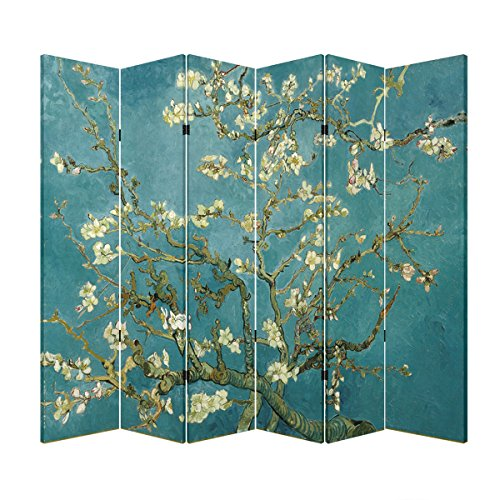 6 Panel (Original Teal Color) Wood Folding Screen Decorative Canvas Privacy Partition Room Divider - Vincent Van Gogh's Almond Blossoms