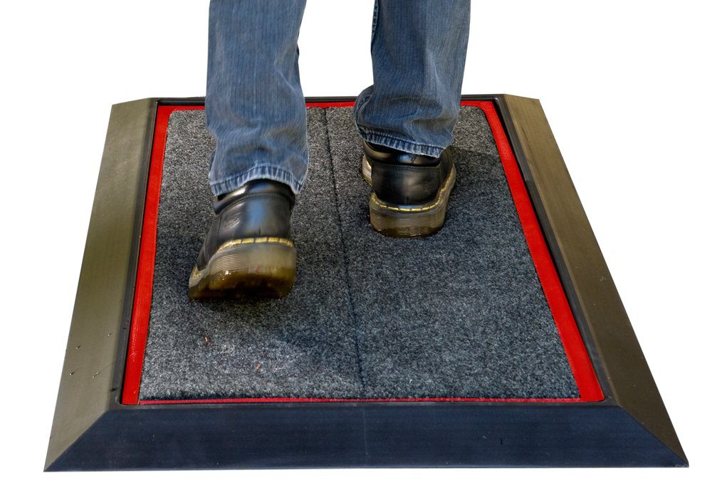 Sanistride® Stride Mat Shoe Disinfectant Dispensing System - Rubber Base Mat with Proprietary Sanitizer Delivery Insert