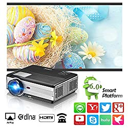 Home Theater Smart Video Projector Android Wireless Lcd Led Wxga 3500 Lux Support Full Hd 1080p Airplay Screen Mirror With Smartphone Laptop Wifi Outdoor Movie Projectors Hdmi Usb Aux Audio Vga Av