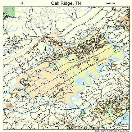Amazon.com: Large Street & Road Map of Oak Ridge, Tennessee TN ...