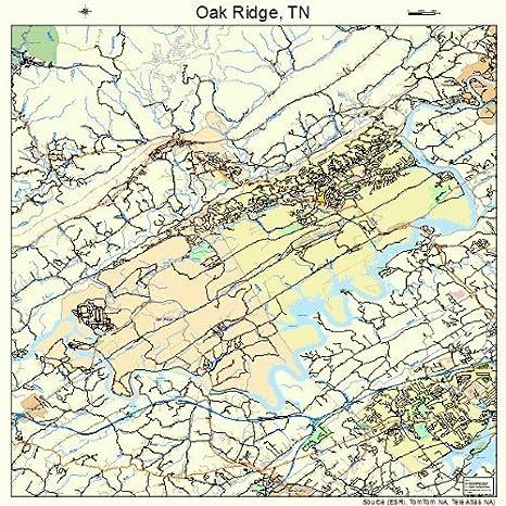 Amazon.com: Large Street & Road Map of Oak Ridge, Tennessee TN ... on