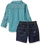 U.S. Polo Assn. Baby Boy's Long Sleeve Woven Shirt, T-Shirt and Short Set Shorts, Printed fine American Clothing Multi Plaid, 24M