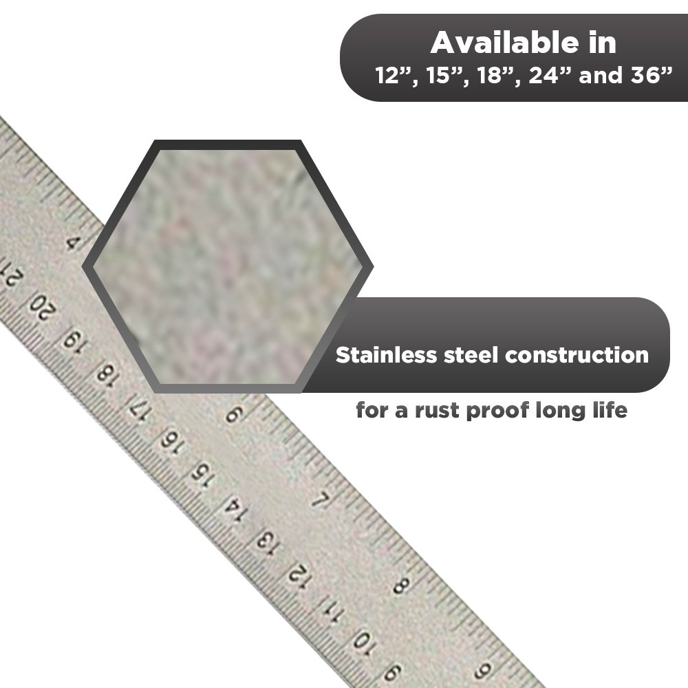 24 inch Stainless Steel Metal Ruler 2 Pack- 24 inch High Grade Flexible Stainless Steel Ruler with Non Slip Cork Base for Excellent Precision and Accuracy (2 Pack) by Breman Precision (Image #2)