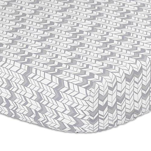 Grey, Silver Herringbone Print Fitted Crib Sheet - 100% Cotton Baby Boy and Girl Geometric Zig Zag Chevron Nursery and Toddler Bedding