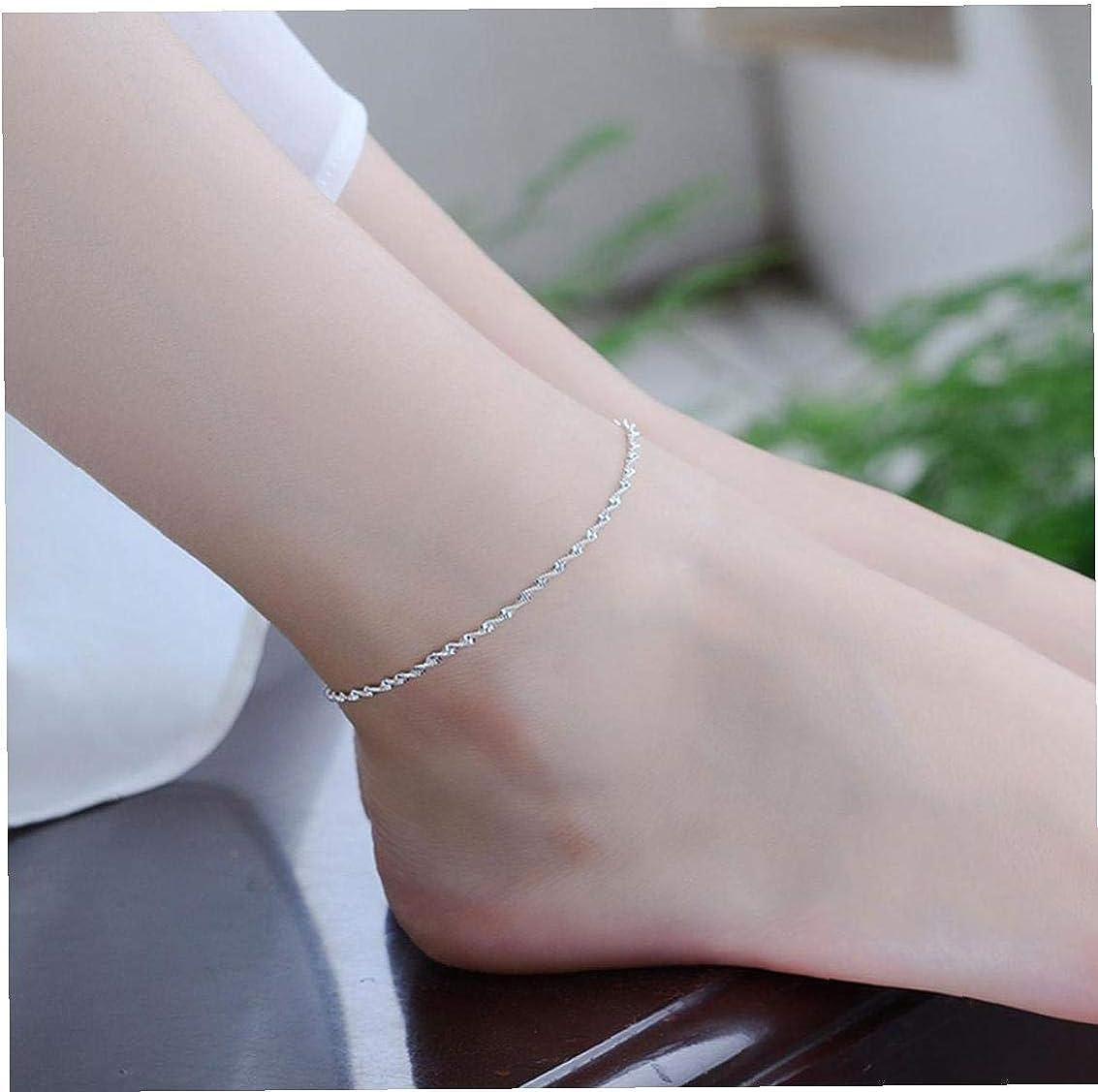 Zonfer Silver Wave Cha/îne de Cheville r/églable Bracelet Plage Pied Bijoux pour Femme
