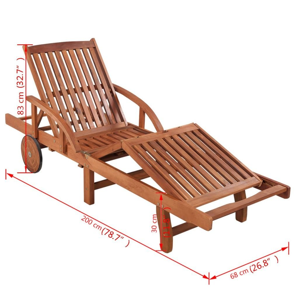 Wooden Sun Lounger Tami Sun with Cushion Foldable Deck Chair Day Bed Outdoor Patio Solid Hardwood 200 x 60 cm