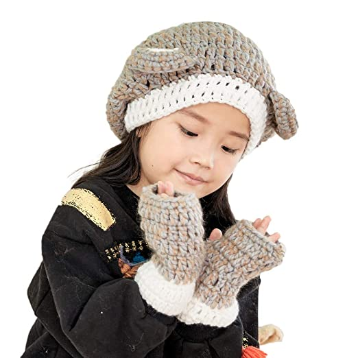 8c613976d7b Cute Baby Toddlers Kids Warm Squirrel Animal Hats Knitted Hood Scarf Beanies  for Autumn Winter (