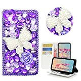 STENES Nokia 7 Plus Case - Stylish - 3D Handmade Crystal Pearl Butterfly Rose Flowers Wallet Credit Card Slots Fold Media Stand Leather Cover Case Nokia 7 Plus - Purple