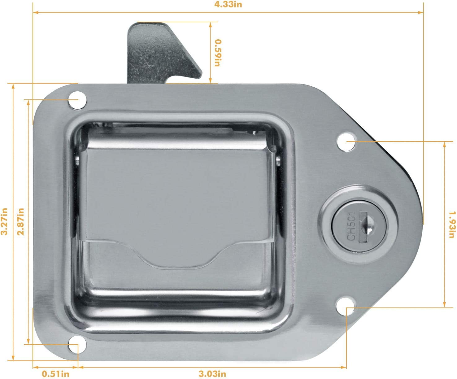 """Frigocon Truck Tool Box Latch Stainless Lock Replacement Handle with 2 Keys 4-3//8/""""x 3-1//4/"""""""