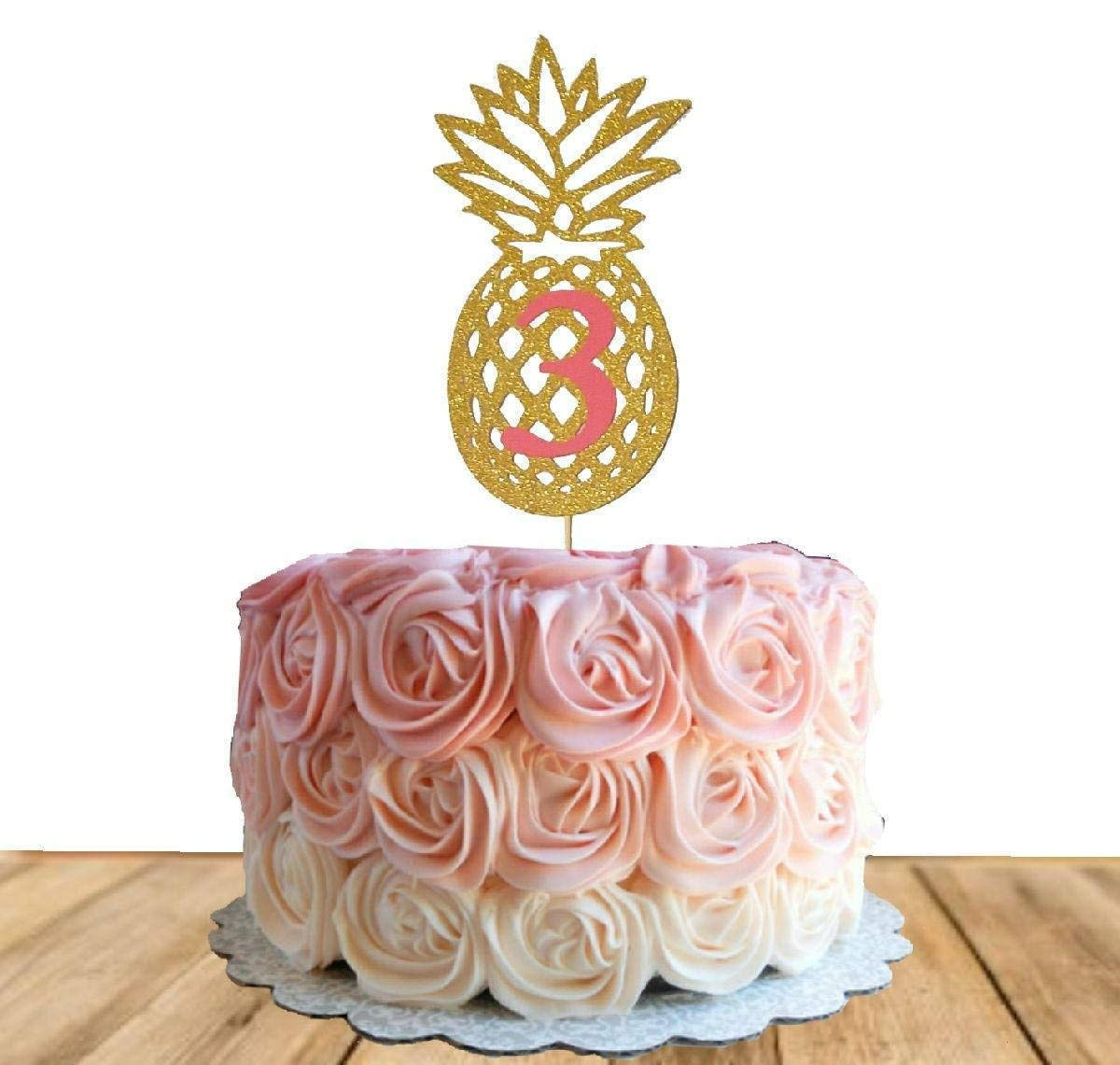 Amazon Com Pineapple With Age Cake Topper Pineapple Cake Topper Birthday Gold Cake Topper Glitter Cake Topper Custom With Age Tropical Flamingo Customised Handmade