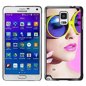 Caucho caso de Shell duro de la cubierta de accesorios de protección BY RAYDREAMMM - Samsung Galaxy Note 4 - stil devushka makiyazh ochki