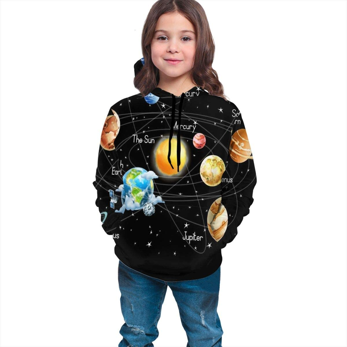 Solar Planets Stars and Milky Way Galaxy Space Kids Hoodie Soft Hooded Sweatshirt Loose Pull Over Hoodie