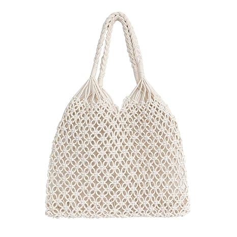 Amazon.com: hosport Mujer Bolsa de cubeta verano tela Totes ...
