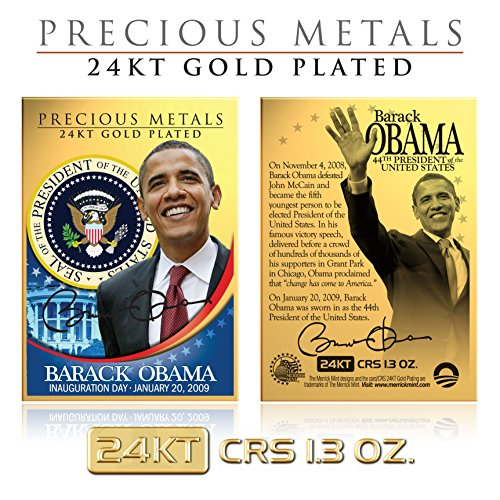 BARACK OBAMA 24KT Gold Plated Precious Metals Card CRS 1.3 oz Inauguration ()