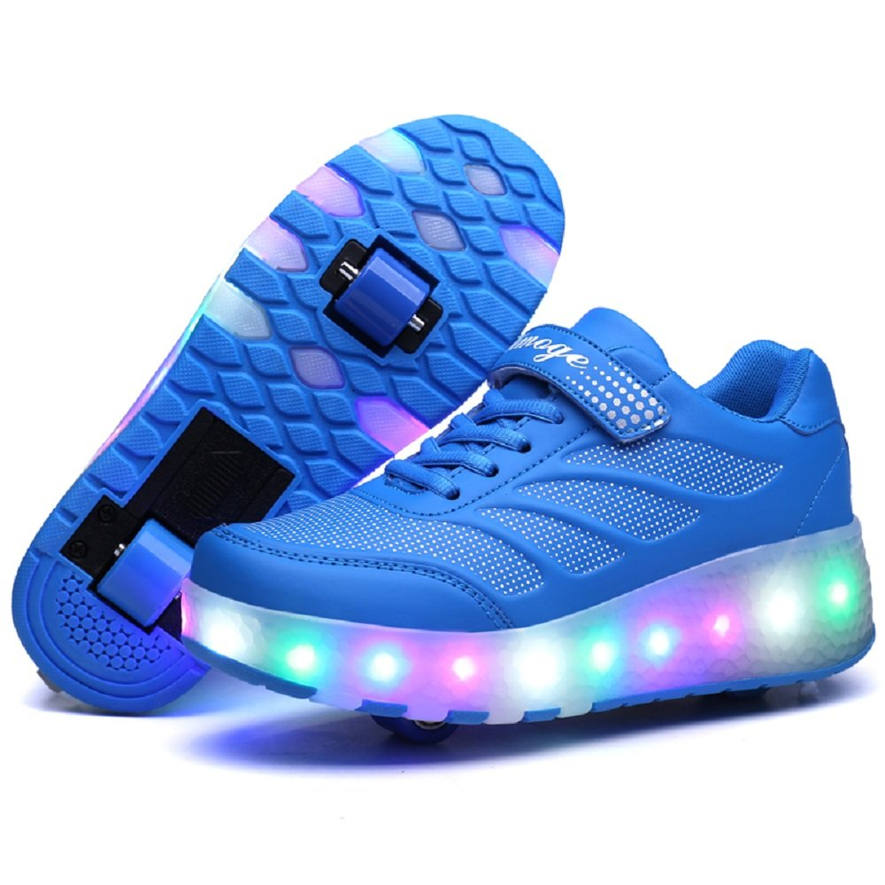 BOSIDI Blue Light Up Double Wheels Roller Skates Shoes Sneakers US Big Kids Size 2.5