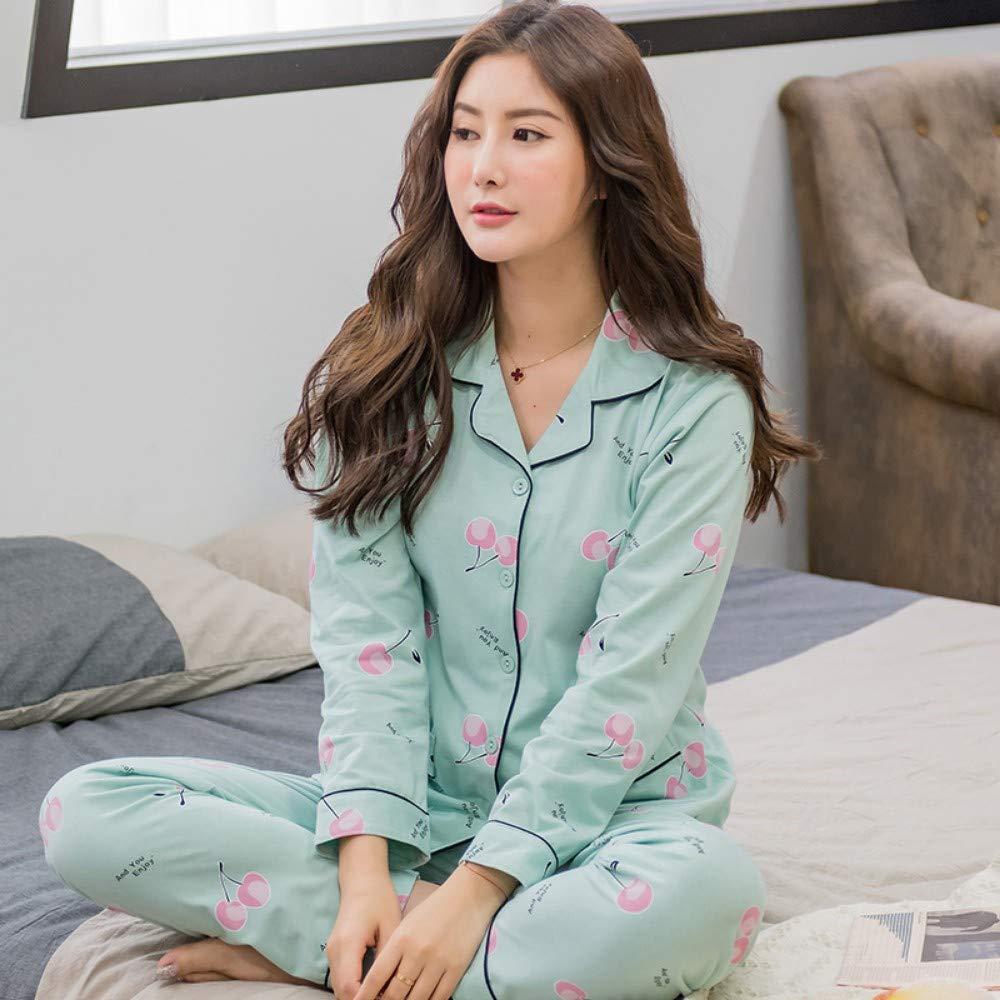 Homewear Manicotto Lungo Sleepwear TENGTENGCAI Donne Pigiama Imposta frutto Primaverile Design Pigiami di Cotone di Donne