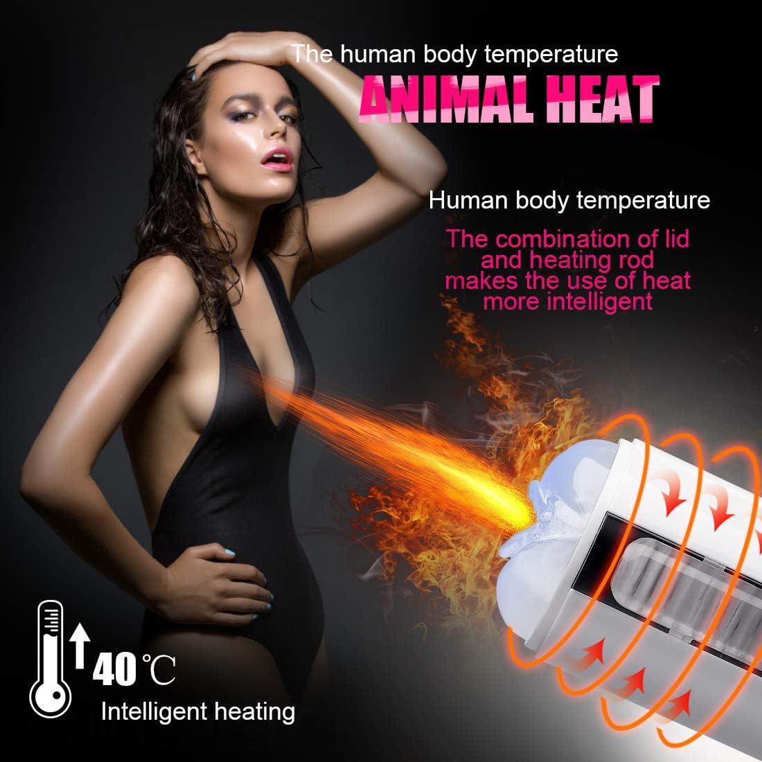 white Extēndēr Slēēvēs For Men With Heating Voices Suction Base Stroker Pocket Pussey Blowjobsēx Machine Masterbrators For Male intense sucking device