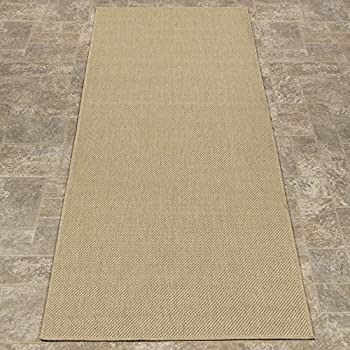 """Ottomanson Jardin Collection Natural Solid Design Indoor/Outdoor Jute Backing Synthetic Sisal Runner Rug, Cream, 27"""" x 70"""""""