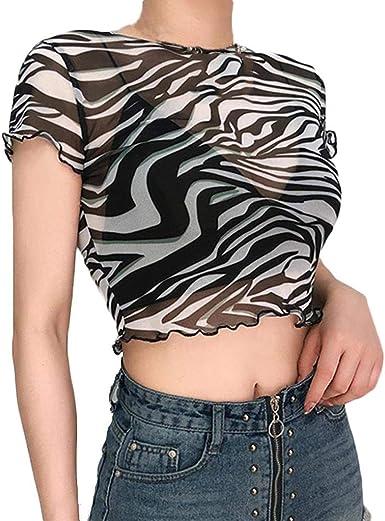 Mujer Camisetas Manga Corta Originales Camisetas Mujer Verano Camisetas Mujer Tallas Grandes Camisas Womens Sheer Zebra-Stripe Impresión Malla Crop Superior Cuello Redondo Camiseta Elástica: Amazon.es: Ropa y accesorios