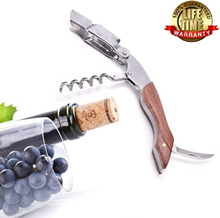 Ducomi Sommelier - Sacacorchos, Destapador y Cortador de Acero Inoxidable - Herramienta para Abrir Botellas de Vino y Cerveza - Garantía de por Vida - Fácil de Usar - Compacto y Elegante (Art Deco)