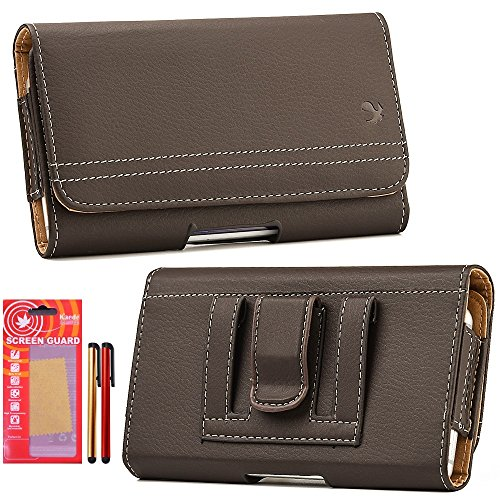 Galaxy S6 Case, Holster Belt with Clip / Loops Belt Pouch Id Card Holder Cover Kaede [Screen Guard] Protector and Two Stylus For [Galaxy S6] (Brown)