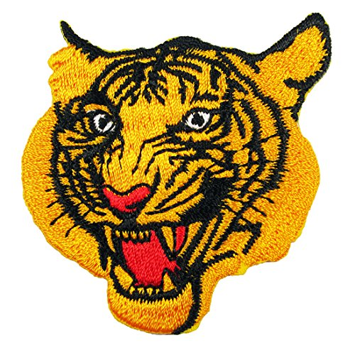 - Yellow Tiger Face, Embroidered Iron on Patches