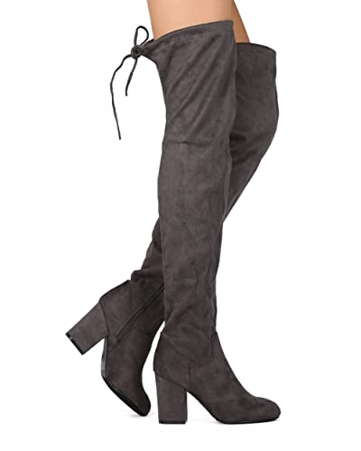 0a1491f207d ShoBeautiful Women s Over The Knee Boots Stretchy Drawstring Back Tie Thigh  High Chunky Block Heel Boots