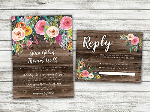 BOHO Country Wedding Invitation, Rustic Floral Wedding Invitation, Flowers, Bohemian Wedding Invitation, Shabby Chic Wedding, Barn Wood