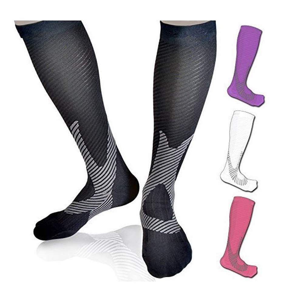 Graduated Compression Socks for Women & Men 20-30 mmHg,Thigh Highs Running Support Stocking for Plantar Fasciitis (S/M(women6-9/M5-8), Black)