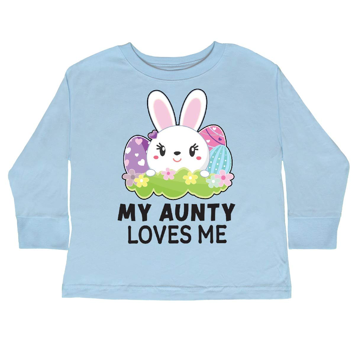 inktastic My Aunty Loves Me with Bunny and Easter Toddler Long Sleeve T-Shirt