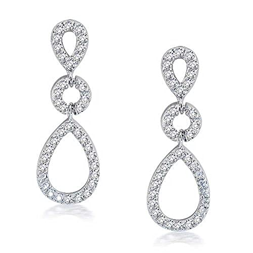 0bdbf48d80c8 Image Unavailable. Image not available for. Color  Wedding Cubic Zirconia  Bridal Prom Open Teardrop CZ Pave Dangle Stud Earrings For Women Silver  Plated