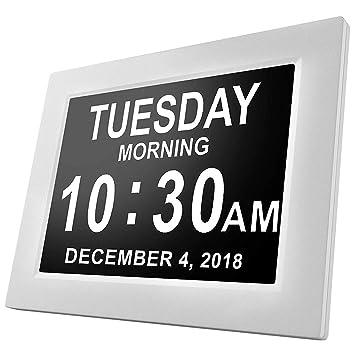 Houkiper Reloj digital LCD de 8 pulgadas, calendario multifuncional Fecha Día Hora Reloj Atenuación automática Función de recordatorio de visualización HD ...