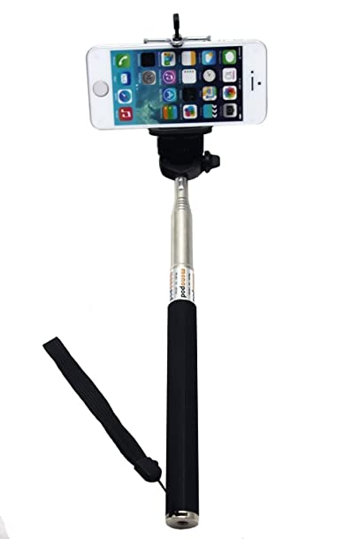 UFCIT(TM) Extendable Self Portrait Selfie Handheld Stick Monopod with Smartphone Adjustable Holder for iPhone, Samsung and other smartphones (black)