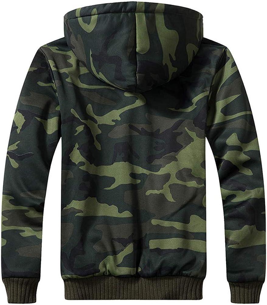 Volwassan Fleece Mens Hooded Jacket Padded Zip Hoodie Camo