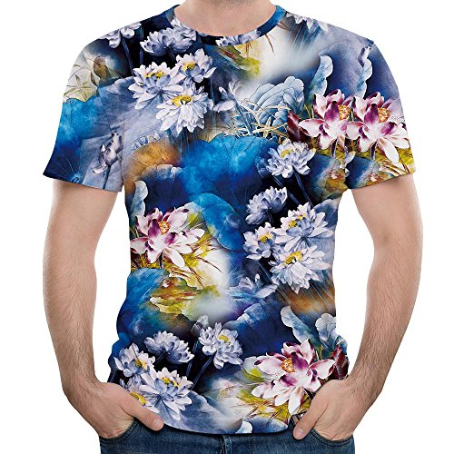 Men's Summer Shirt, JOYFEEL  3D Floral Printed Personality Slim Fit Blouse Short Sleeve Crewneck Casual Tee ()