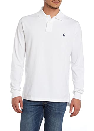 Ralph Lauren Polo Mens Long Sleeve Classic Fit Mesh Polo Shirt White (SMALL)