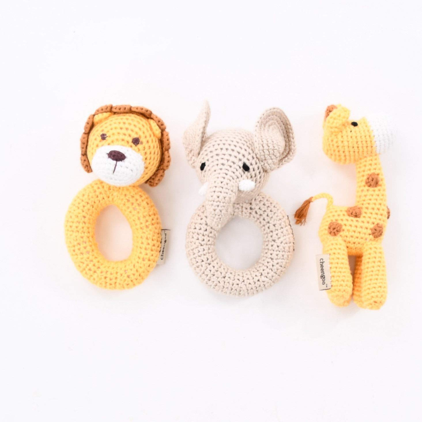 Organic Baby Toy Rattles - Crochet Jungle Themed Set of 3
