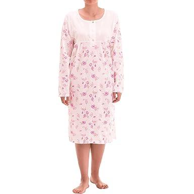 3cb21c77 Zeitlos - Damen Nachthemd Fiona Langarm Blumen Schlafshirt, Farbe:weiß,  Größe:XL