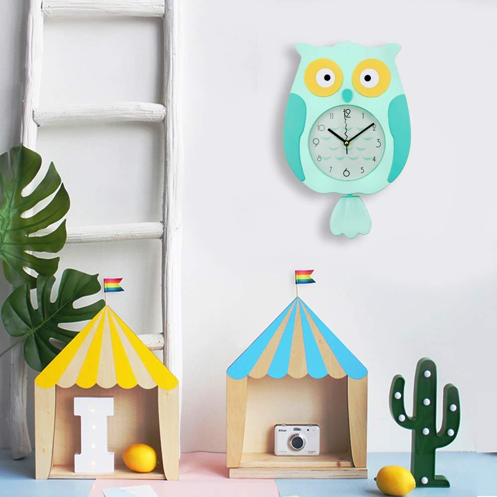 ufengke Horloge Murale avec Pendule Enfant Hibou Orange Horloge Quartz Deco Animaux pour Salon Chambre 39x24.5cm