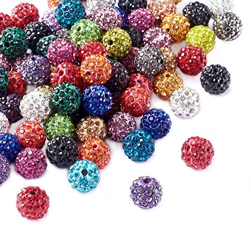 (Beadthoven 100pcs 10mm Multi-Color Glass Rhinestone Clay Pave Round Beads Disco Crystal Shamballa Beading Charms for Jewelry Crafts Making Creative Handmade Home Decoration Accessoies Supplies)