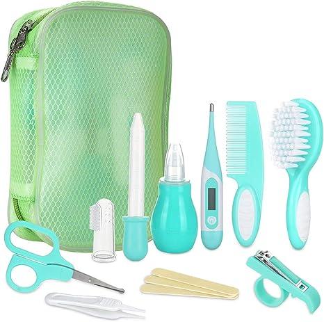 Lictin Set para el Cuidado del Bebé-10 Piezas Kit de Aseo Conveniente para Bebé con Termómetro electronico,Peine, Cepillo de Dientes de Dedo, Limpiador de nariz para Viaje y el Uso diario(Verde): Amazon.es: