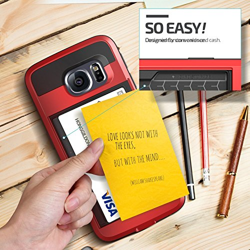 Galaxy S7 edge case Asstar withstand consist of Wallet case Anti ScratchCard Pocket double Layer Shockproof delicate plastic Bumper Hybrid Protective Card case for Samsung Galaxy S7 edge Red cellular phone Charms