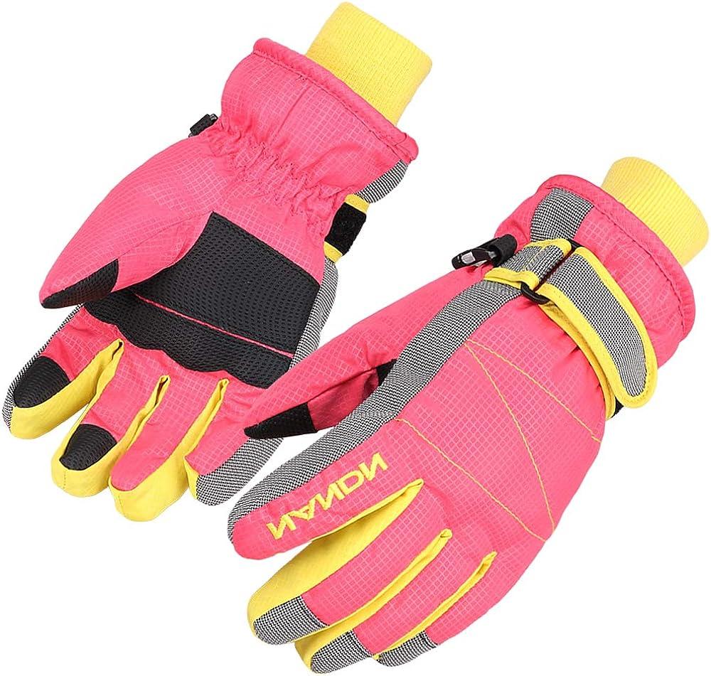 JETEDC Children Snowboard Gloves Kids Winter Windproof Warmer Snow Ski Gloves for Age of 6 to 10