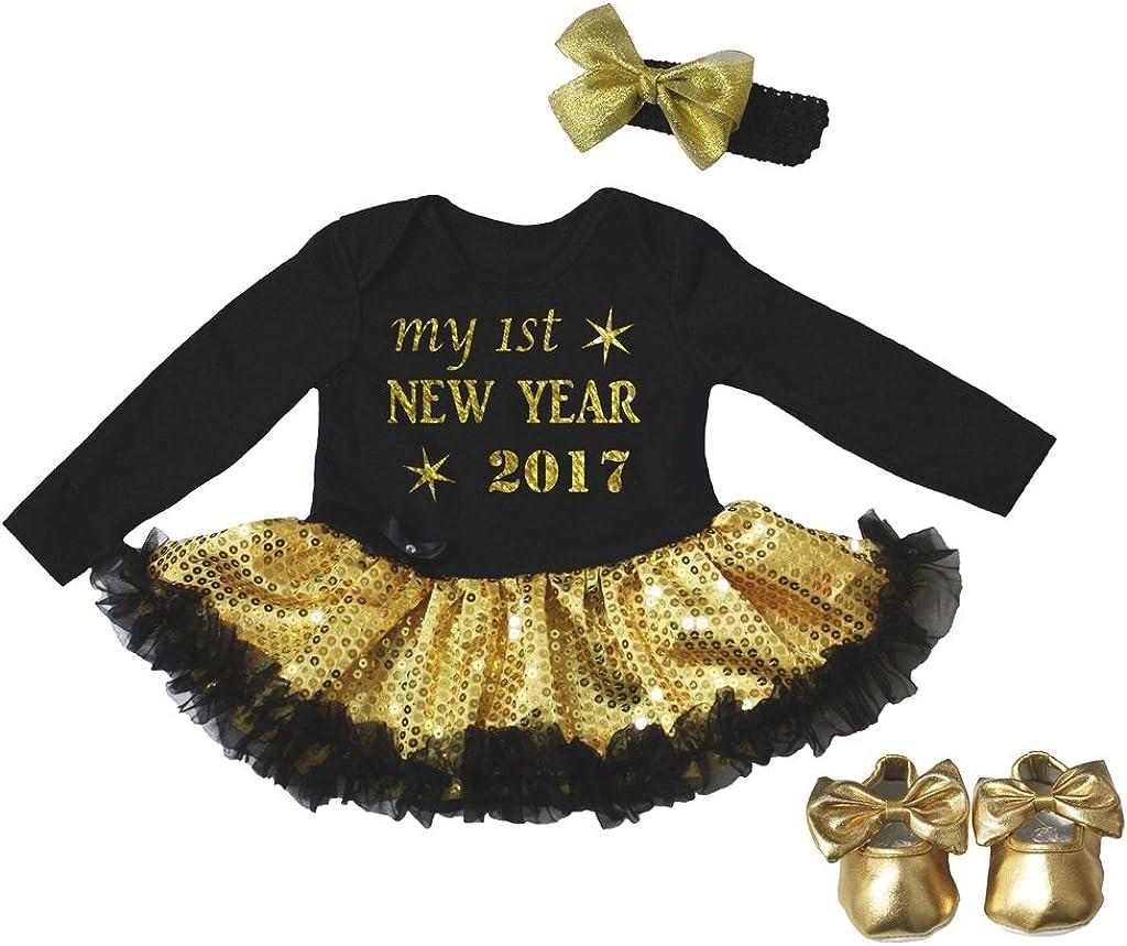 Petitebella My 1st New Year 2017 L//s Bodysuit Gold Sequins Tutu Shoes Nb-18m