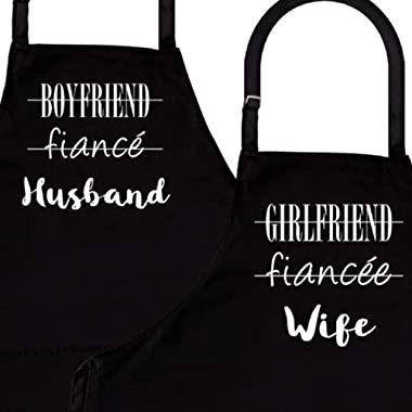 Husband & Wife | 2-Piece Kitchen Apron Set | Matching Engagement Wedding Anniversary Bridal Shower Gift for Bride | Wedding Gifts for The Couple Unique | Newly Married Presents