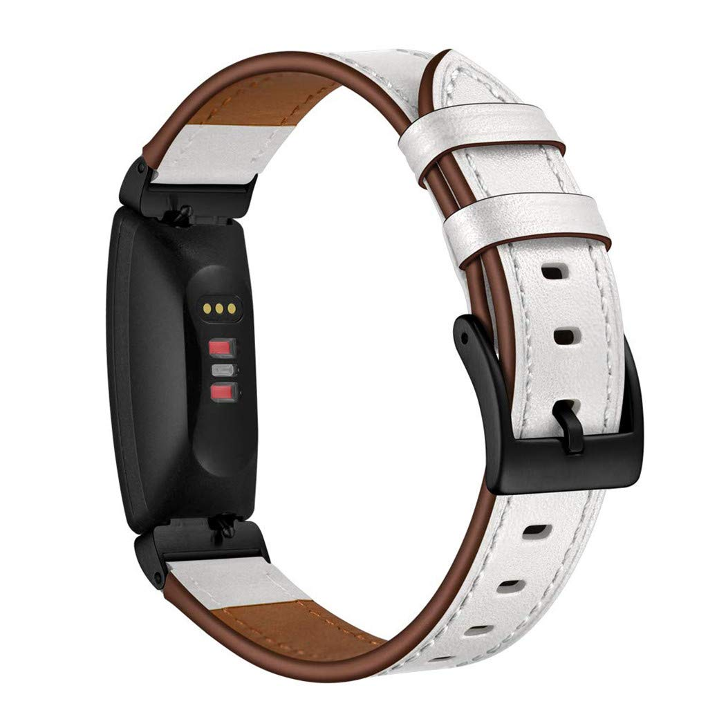 Amazon.com: Smart Watch Band Fashion Replacement Leather Band Wrap Bracelet Strap for Fitbit Inspire HR & Inspire Banda de reloj inteligente (White): Car ...
